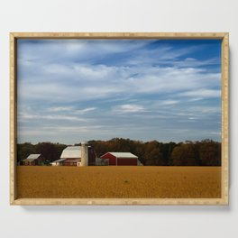 Rural Farmhouse Landscape Photograph Red Barn in Golden Field Serving Tray