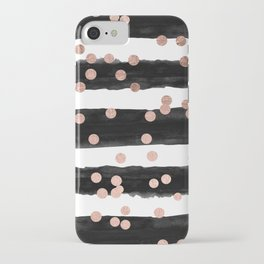 Girly rose gold confetti black watercolor stripes iPhone Case