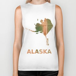 Alaska map outline Peru green streaked wash drawing illustration Biker Tank