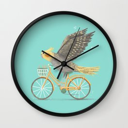 Cockatiel on a Bicycle Wall Clock