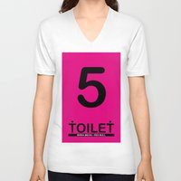 toilet V-neck T-shirts featuring TOILET CLUB #5 by Toilet Club