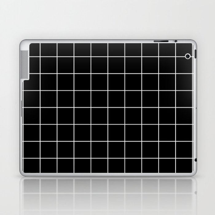 Grid Line Stripe Black and White Minimalist Geometric Laptop & iPad Skin