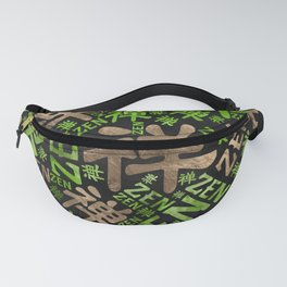 Zen Symbol and word pattern gold and green Fanny Pack