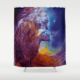 Night Time Dance of the Spirit Guides (Painting) Shower Curtain
