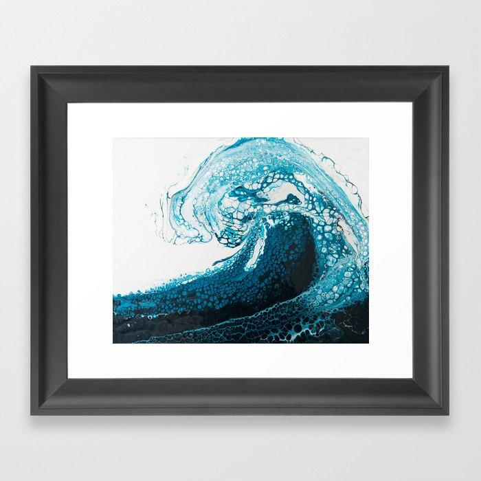 Ocean Wave Acrylic Pour Gerahmter Kunstdruck