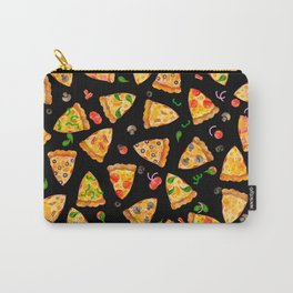 Watercolor Pizza Pattern Fast Food On Black Carry-All Pouch