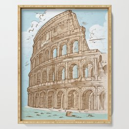 colosseum color hand draw background Serving Tray