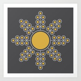 Minimalist Floral Circle, Spicy Mustard, Charcoal Black Art Print