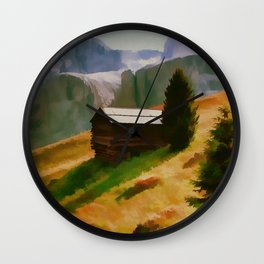 Italy Dolomite Mountains Travel Poster Vintage Style Wall Clock