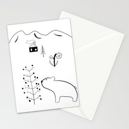 Bear and Berry Tree in the Forest with Mountains – Nordic Style Illustration Stationery Cards