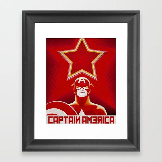 Soviet Art - Captain America Framed Art Print
