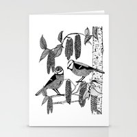 tits Stationery Cards featuring Blue Tits and Catkins by LindaWinegum
