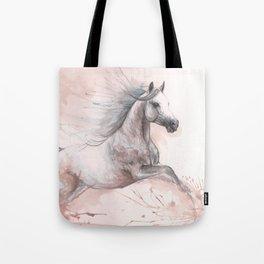 Running  arabian horse watercolor art Tote Bag