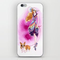 Vintage Fashion Corgi iPhone & iPod Skin