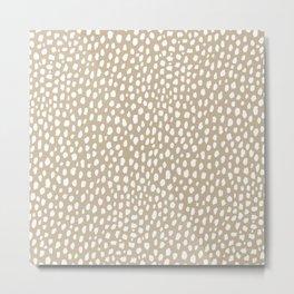 Handmade polka dot brush spots (white/tan) Metal Print