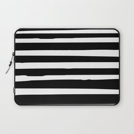 Black and White Stripes Abstract Modern Laptop Sleeve