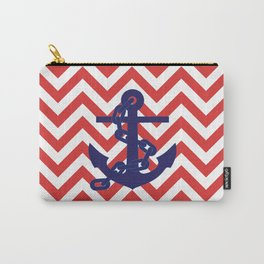 Blue Anchor on Red and White Chevron Pattern Carry-All Pouch
