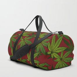Cannabis Leaf - Crimson Duffle Bag