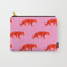 Vintage Cheetahs in Coral + Red Carry-All Pouch