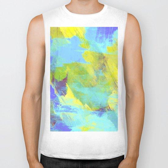 Hint Of Summer - Abstract, textured painting Biker Tank