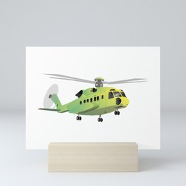 Green and Yellow Helicopter Mini Art Print