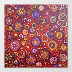 Red Square Abstract Painting Canvas Print