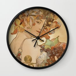 Alphonse Mucha -  Fruit Wall Clock