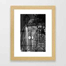 The Fountain and the Clock Framed Art Print