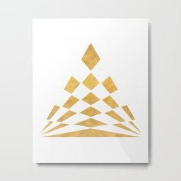 CHECKERBOARD ABSTRACT PYRAMID sacred geometry Metal Print