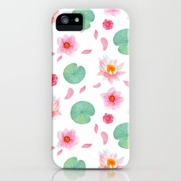 Watercolor blush pink green yellow water lilies lotus floral iPhone Case