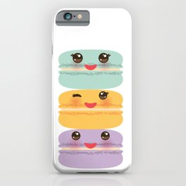 Kawaii macaroon funny orange blue lilac cookie with pink cheeks with pink cheeks and big eyes iPhone Case