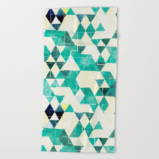 Abstract Green Triangles, Watercolor Pattern Beach Towel