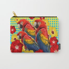 YELLOW-BLUE  FLORAL MACAWS & RED YELLOW HIBISCUS Carry-All Pouch