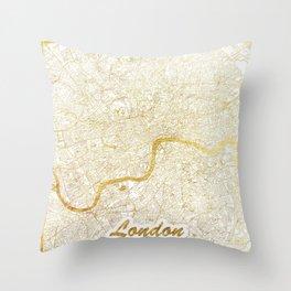 London Map Gold Throw Pillow