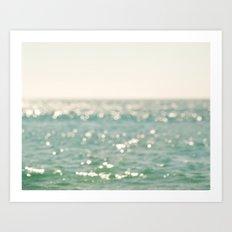 beach. bokeh sparkle, ocean. La Mer Art Print