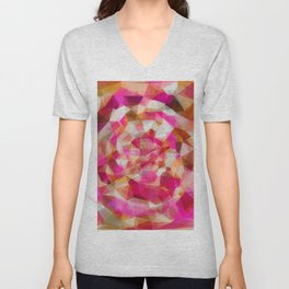 geometric polygon abstract pattern in pink orange brown Unisex V-Neck