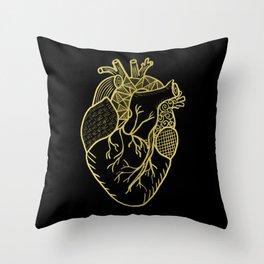 Designer Heart Gold Throw Pillow