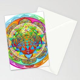 Inner Strength Psychedelic Tiger Sri Yantra Mandala Stationery Cards