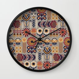 Abstract boho country chic autumn colors floral pattern Wall Clock