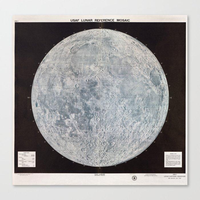 Vintage Lunar Moon Map, 1960s Canvas Print