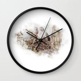 Pigeons cuddling Wall Clock