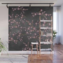 SAKURA LOVE - GRUNGE BLACK Wall Mural