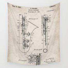 Selmer Saxophone Patent - Saxophone Art - Antique Wall Tapestry