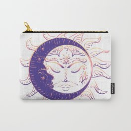 Modern tattoo of sleeping sun and crescent moon design. Carry-All Pouch