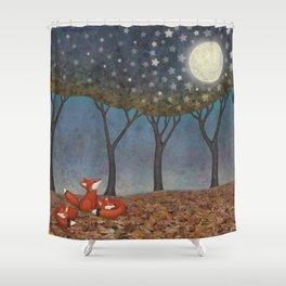 sleepy foxes Shower Curtain