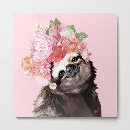 Sloth with Flower Crown Metal Print