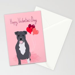 Pitbull love heart balloons valentines day gifts for pibble lovers grey and white Stationery Cards