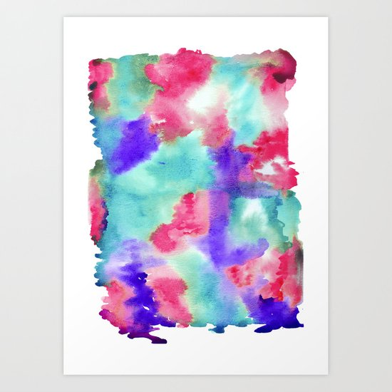 Turquoise and floral water. Watercolor texture. Art Print