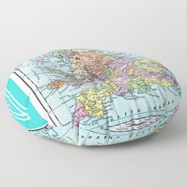 Vintage Map  of England and Wales Floor Pillow