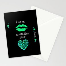 Kiss My Lips and I'll Kiss Your Heart (black) Stationery Cards